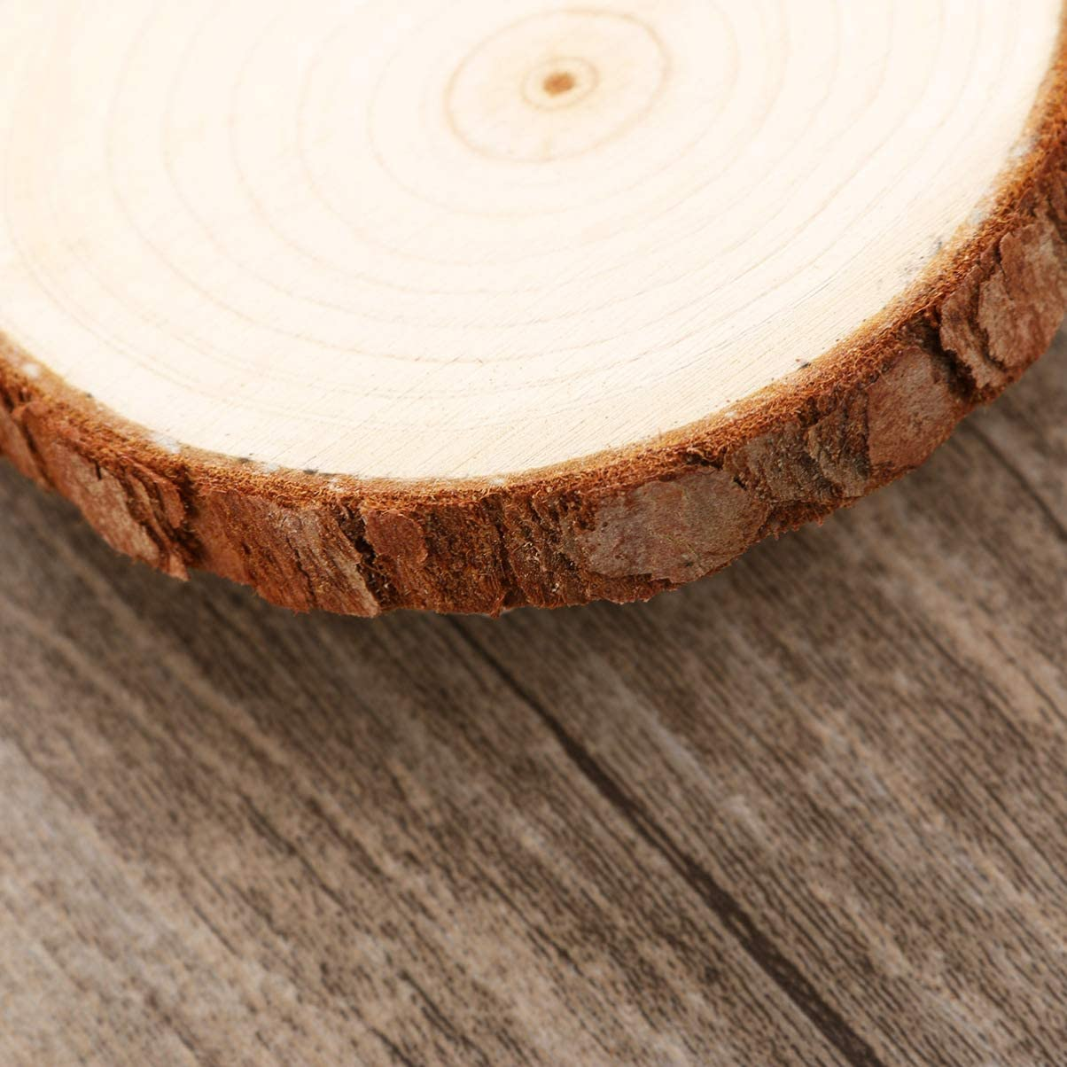 DOITOOL 10 pi/èces tranches de bois naturel non finis rondin de bois deco de rondins de b/ûches pour bricolage artisanat de No/ël d/écorations de mariage rustiques 7-9CM