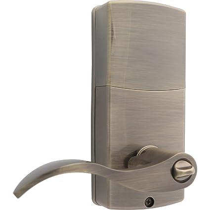 Antique Brass Honeywell Safes & Door Locks 8734101 Electronic Entry Lever Door Lock