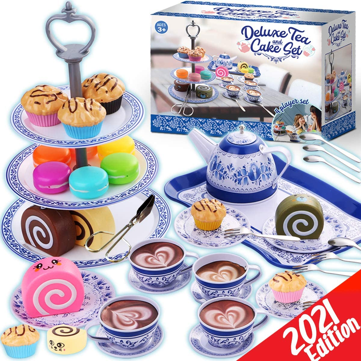 Cheffun Tea Party Set for Little Girls - Kids Pretend Play Kitchen Toys Sweet Princess Tea Cup Plastic Toys Play Food with Teapot Tray Cake Gift for Age 3 4 5 6 7 Year Old Toddler Child Girl Boys