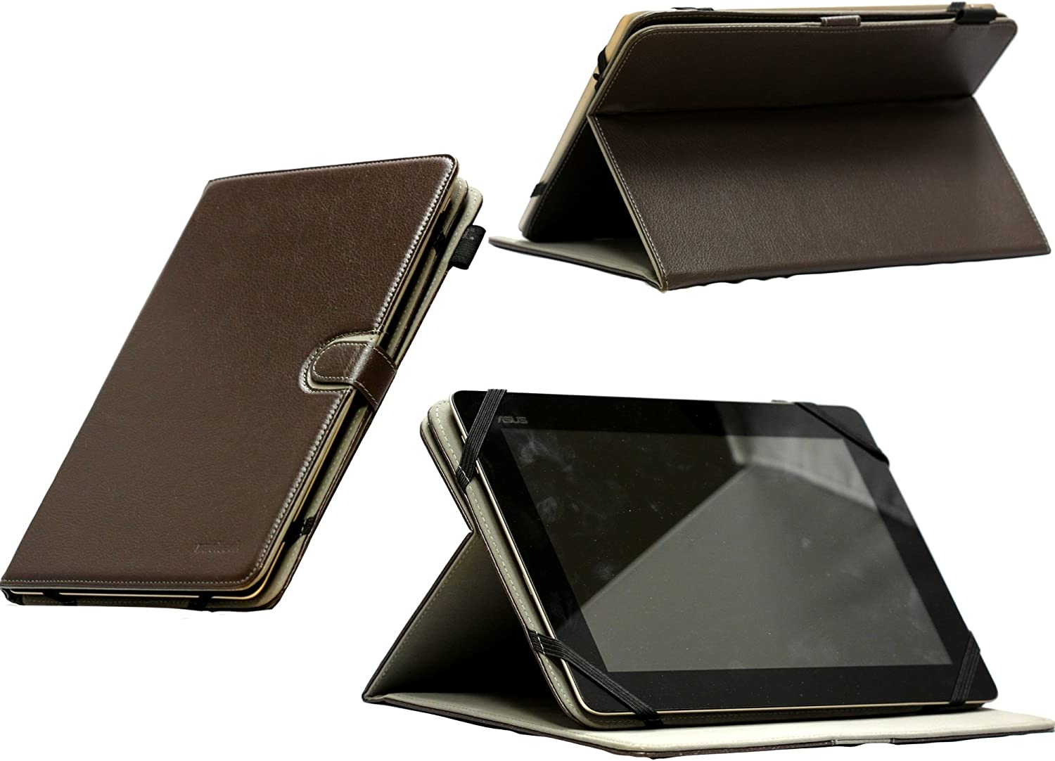 Navitech Brown Faux Leather Case Cover with 360 Rotational Stand Compatible with The Acer Aspire Iconia Tab A200 /A210/ A211 /A500 /A510 /A700 / W510