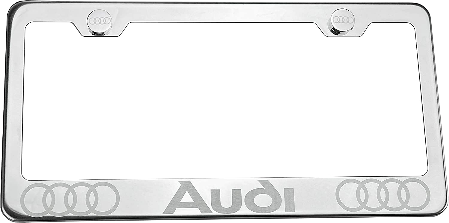 100/% Stainless Steel Fit Audi Laser Engrave Chrome Mirror Polish License Plate Frame Holder with Logo Steel Screw Caps