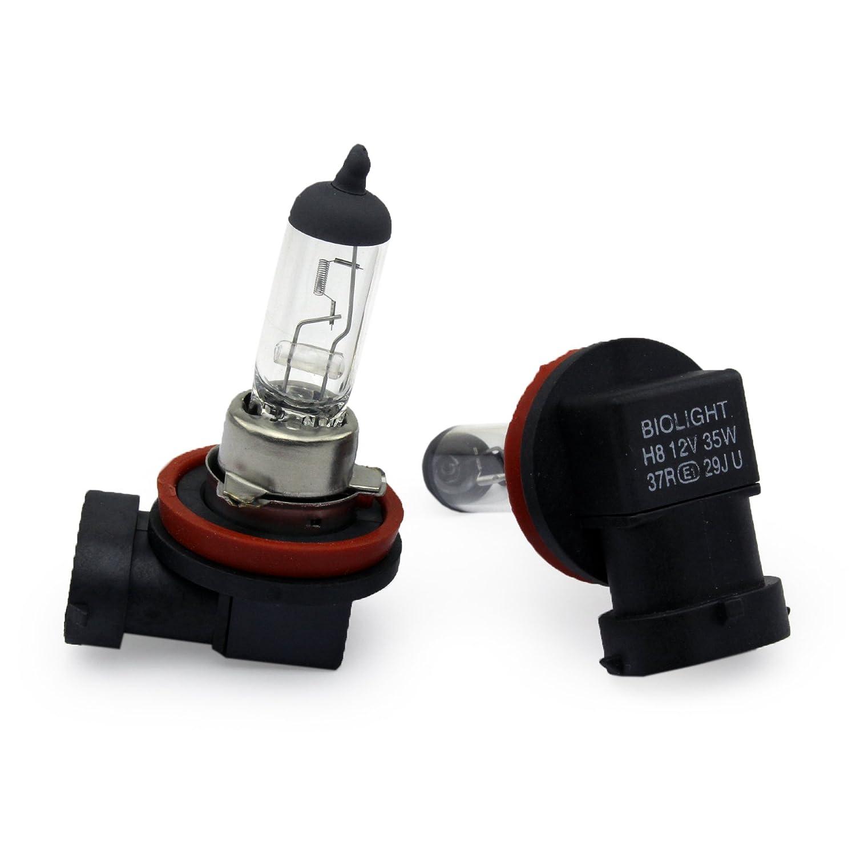 WARM WEISS Gl/ühlampen f/ür Nebelscheinwerfer 12Volt von Jurmann Trade GmbH/® Mit E-Pr/üfzeichen somit zugelassen im Bereich der STVZO 2x Halogen Nebellampe CLEAR 2x H8 35W