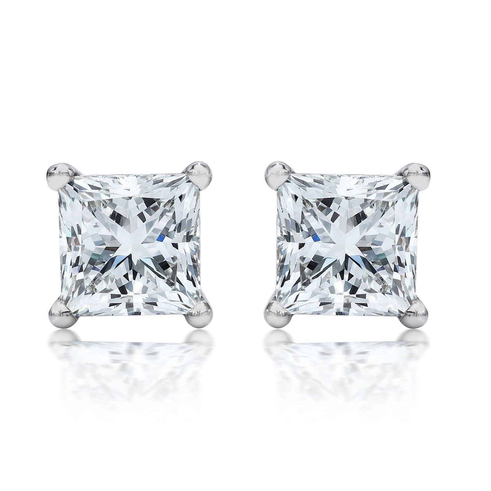 4.0 ctw Princess Brilliant Cut Simulated Diamond CZ Solitaire Stud Earrings in 14k White Gold Screw Back by Clara Pucci (Image #9)