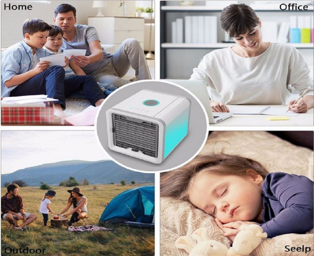PONOBO Personal Space Air Coolers 4 in 1 USB Mini Portable Air Conditioner Cooling Humidifying and Purifying Air and 7 Colors LED Night Light 6.5 inches Desktop Cooling Fan for Office Home Outdoor by PONOBO (Image #7)