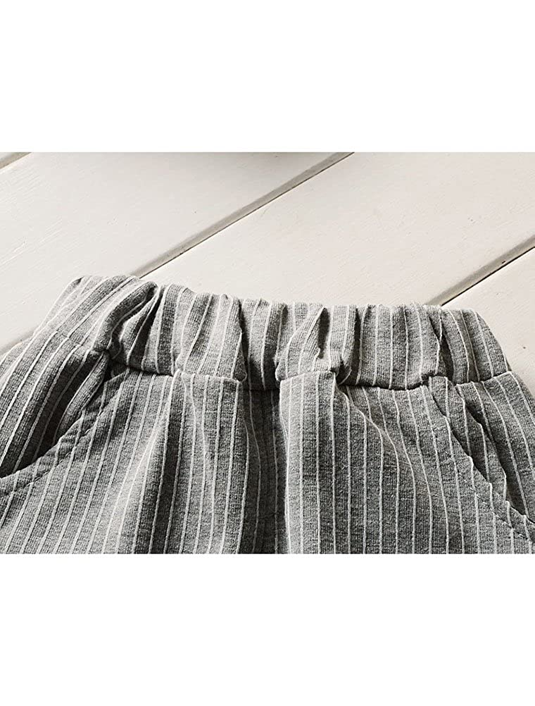 Kids Boys 2 Pieces Clothing Set-Short Sleeve Cute Pattern Woven Cotton Shirt+Long Pant