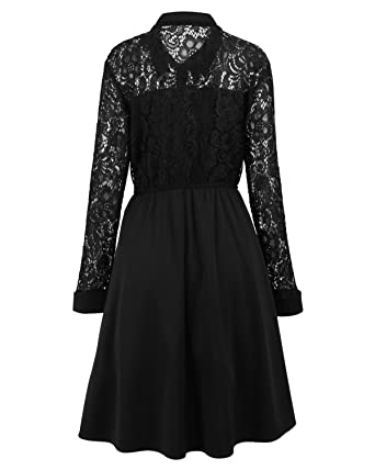 Swish Womens Lace Vintage Long Sleeves A Line Lapel Dress 2xl