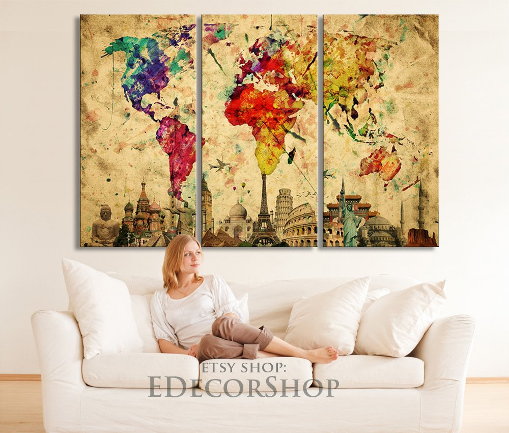 Amazon large wall art canvas world map yellow predominantly amazon large wall art canvas world map yellow predominantly colourful world map with wonders of the world at background 3 panel large wall art gumiabroncs Image collections