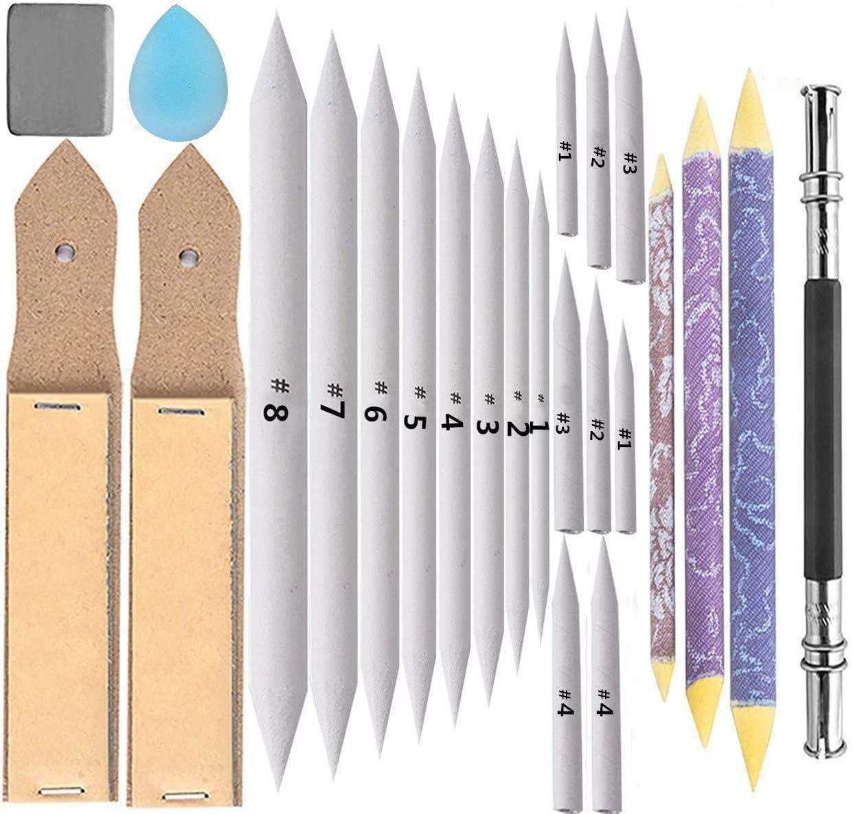 24 Pieces Blending Stumps and Tortillions Set with 2 Pcs Sandpaper Pencil Sharpener 1 Pencil Extension Tool 1 Eraser for Art Blenders Student Sketch Drawing kit
