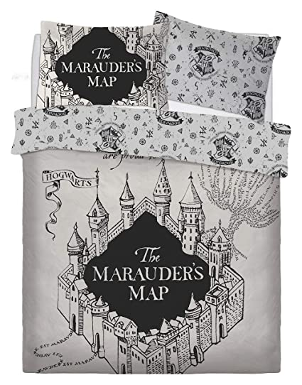 Lenzuola Harry Potter.Rb New Poly Cotton Harry Potter Duvet Cover Set Marauders Map Witch Craft And Wizardry House Colours Available In Single And Double Sizes Harry