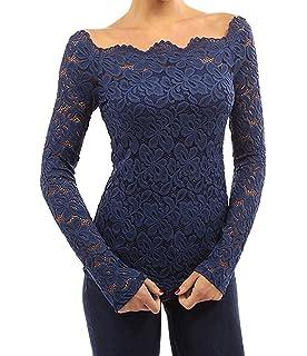 Tkiames Mujeres Camisetas Manga Larga Blusas de Encaje Flores Lace Crochet Sin Tirantes Camisas Shoulder Off