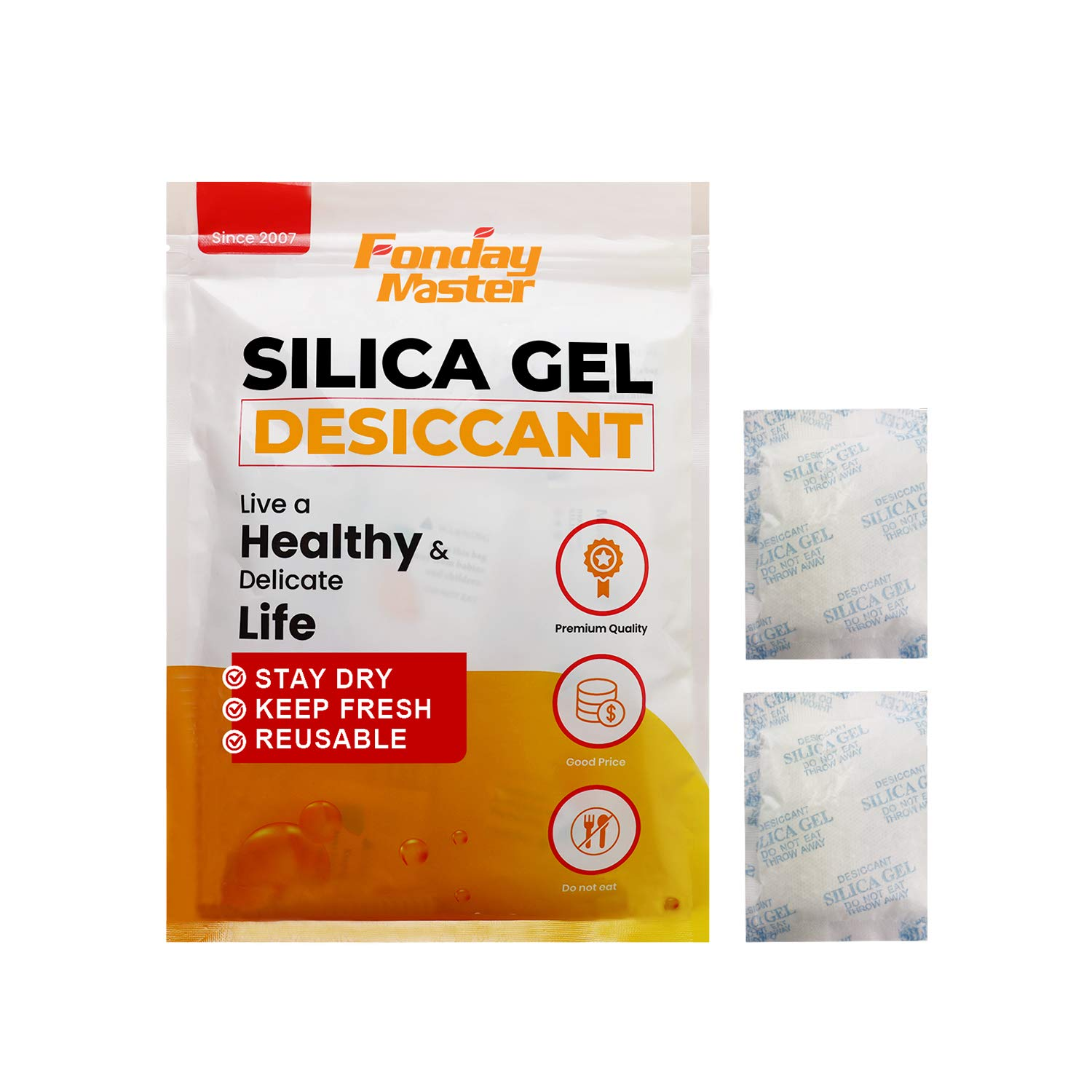 Fonday Premium Food Grade Silica Gel Desiccant Packets Dehumidifier Silica Gel Packs - Rechargeable Moisture Absorber Desiccant Packets(20G x 16Pack)