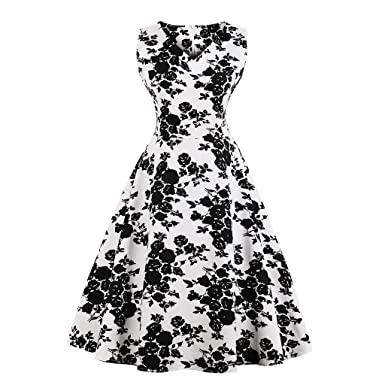 85ce2f6534e Women 1950s Vintage Retro Floral Print Dresses Cocktail Round Collar  Sleeveless Hepburn Rock Swing Party Dress