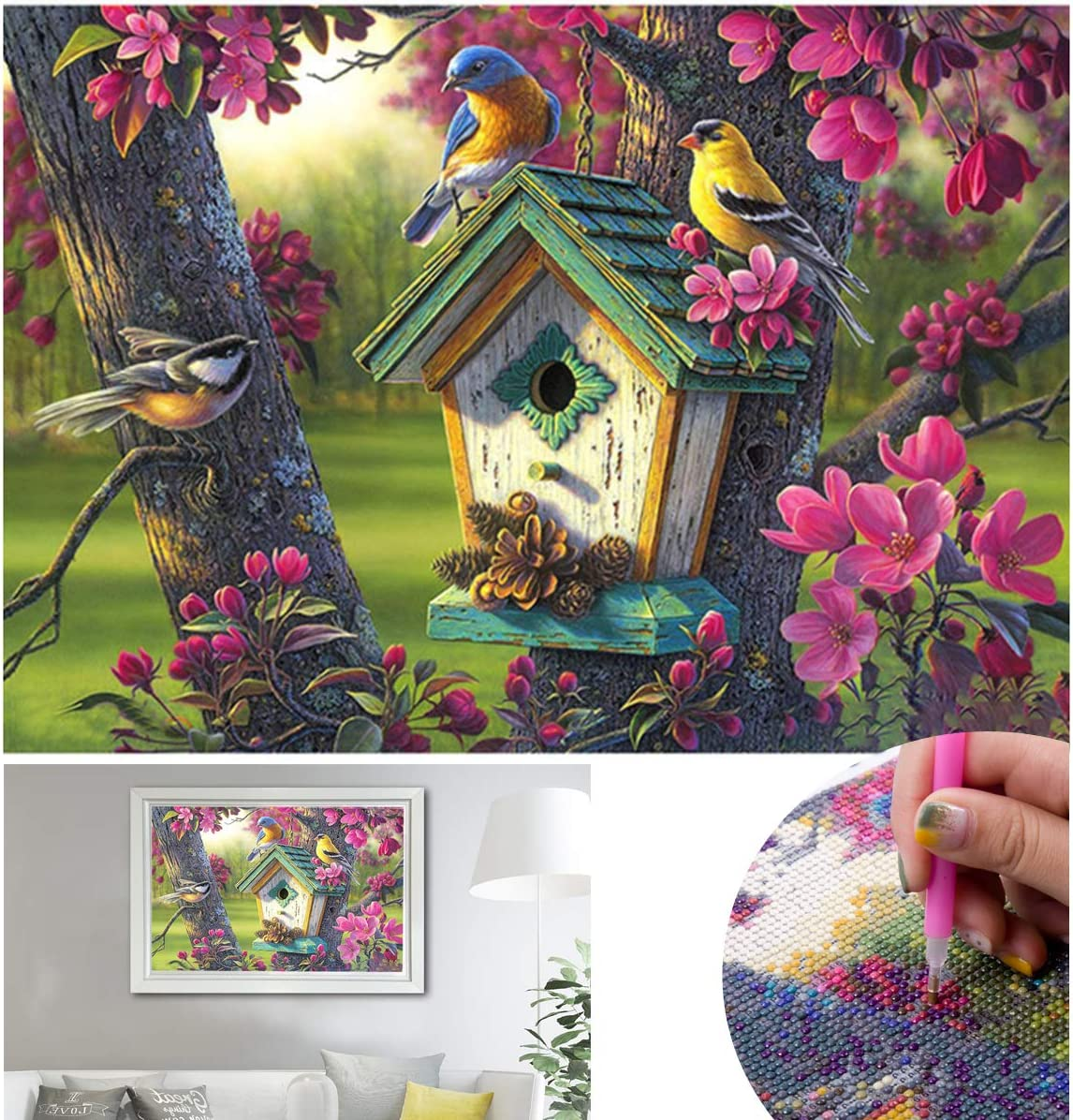 5D Diamond Painting Kits Full Drill Cross Stitch Robinson Crusoe Parrot Goat Hedgehog DIY Mosaic Embroidery Home Decor Bedroom Wall Painting