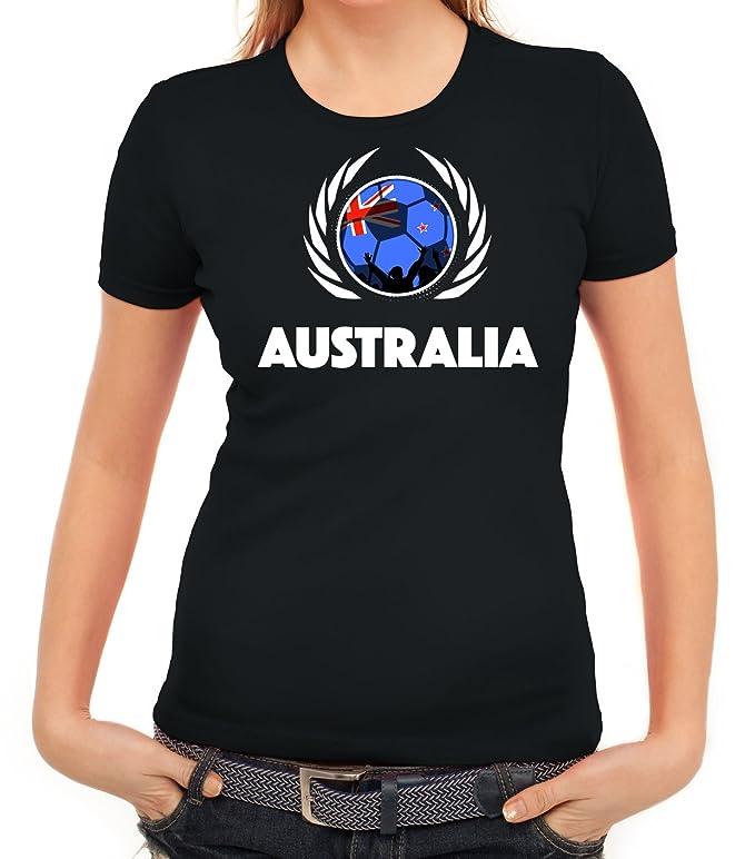 ShirtStreet Australien Soccer Fussball WM Fanfest Gruppen Fan Wappen Damen T -Shirt Fußball Australien: Amazon.de: Bekleidung
