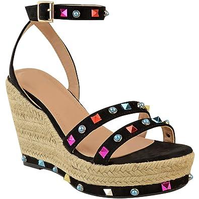 Rock Zapatos Alto Tachuelas Cuña Mujer Con Tacón Heelberry Sandalias 8g5H5T