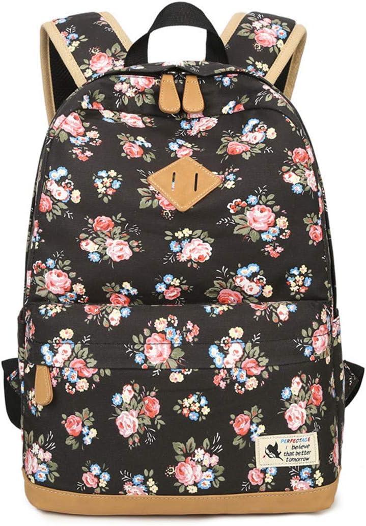 Vintage Canvas Women Backpack School Bags For Teenagers Girls Floral Printing Travel Laptop Bagpack floral black