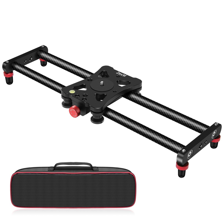 Zecti Camera Slider, Adjustable Carbon Fiber Camera Dolly Track Slider Video Stabilizer Rail for Camera DSLR Video Movie Photography Camcorder Stabili (15.7'' Carbon Fiber Camera Slider Dolly Track) by Zecti