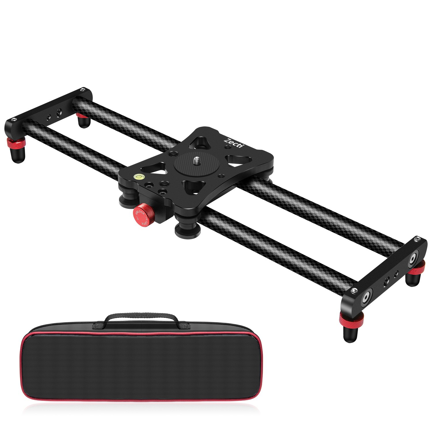 "Zecti 15.7"" Portable Carbon Fiber Camera Slider Dolly Track With 4 Roller Bearing for Video Movie Photography Making Stabilizing Nikon Canon Pentax Sony Cameras 11.02lbs Loading"