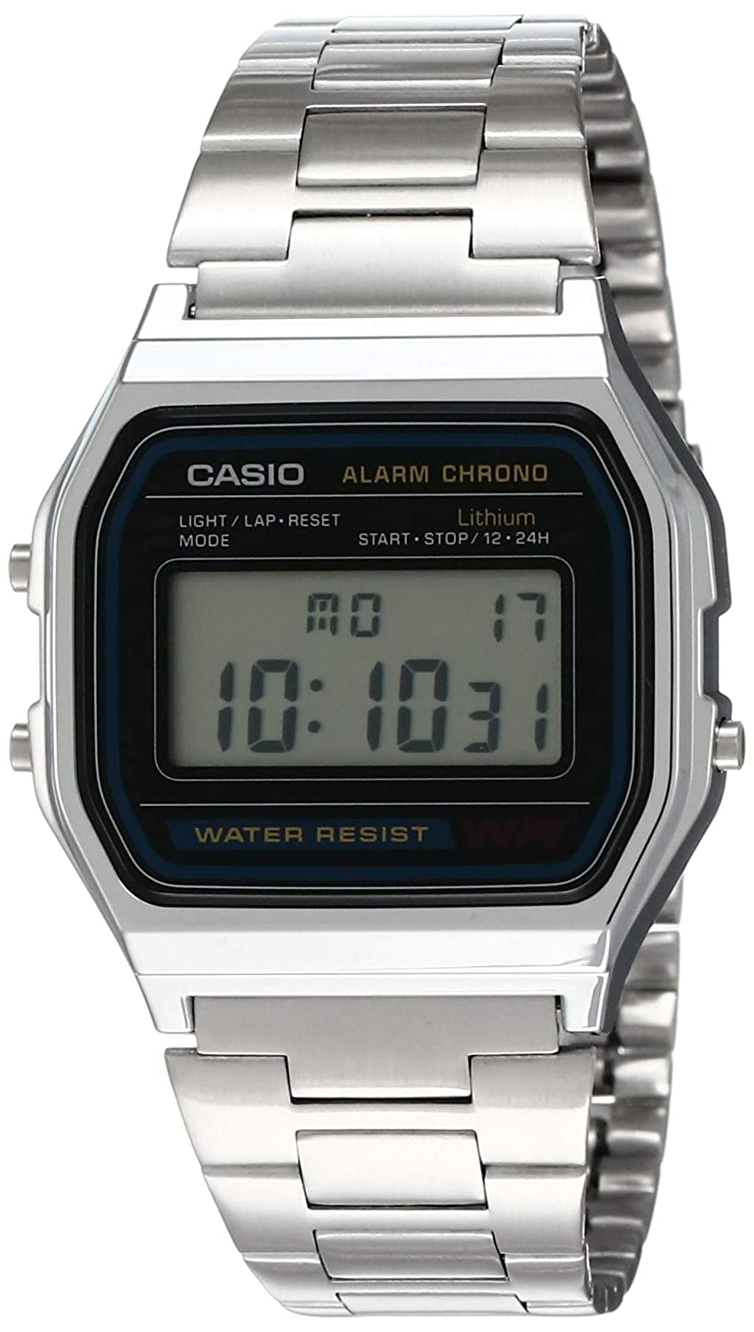 Casio Mens A158WA-1DF Stainless Steel Digital Watch
