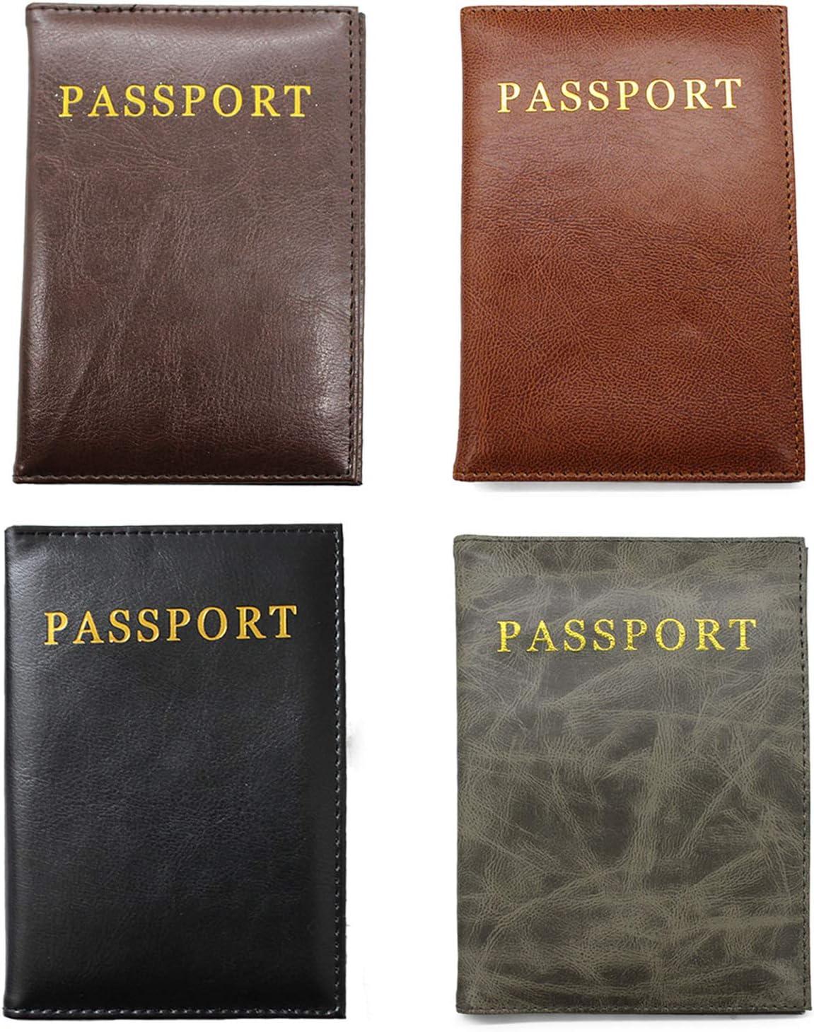 Lot de 4 /étuis pour Passeport en Cuir PU pour Homme et Femme