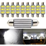 Boodled 10x Festoon 42MM 5630 / 5730 9-SMD LED Interior Cargo Map Dome Door Super White Light Bulbs 578 211-2 569 (42mm)