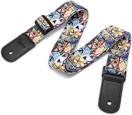 US-03 Ukulele Strap Classic Country Style Soft Strap Leather Ends Ukulele Shoulder Strap/