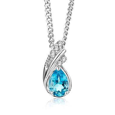 Miore Earrings Women Blue Topaz with Brilliant Cut Diamonds White Gold 9 Kt/375 ZPJ6HW