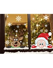 CCINEE 300 PCS 8 Sheet Christmas Snowflake Window Cling Stickers for Glass, Xmas Decals Decorations Holiday Snowflake Santa Claus Reindeer Decals for Party