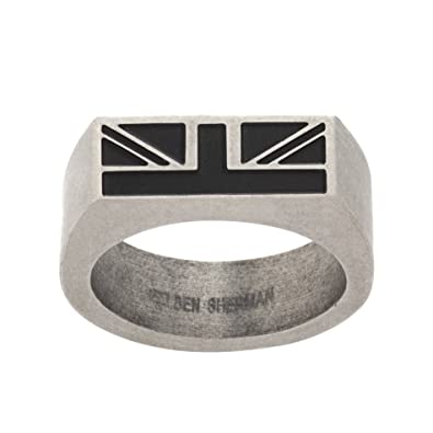 47c755d146da Ben Sherman Oxidized Stainless Steel Men s Black Enamel British Flag  Rectangle Ring Size 10  Amazon.co.uk  Jewellery