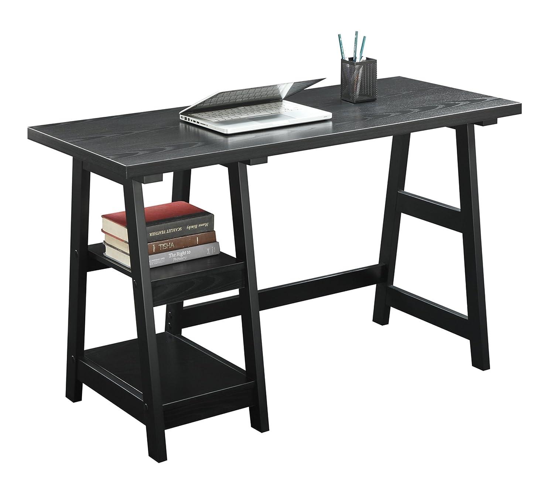 Black Table Desk Part - 37: Amazon.com: Convenience Concepts Designs2Go Trestle Desk, Black: Kitchen U0026  Dining
