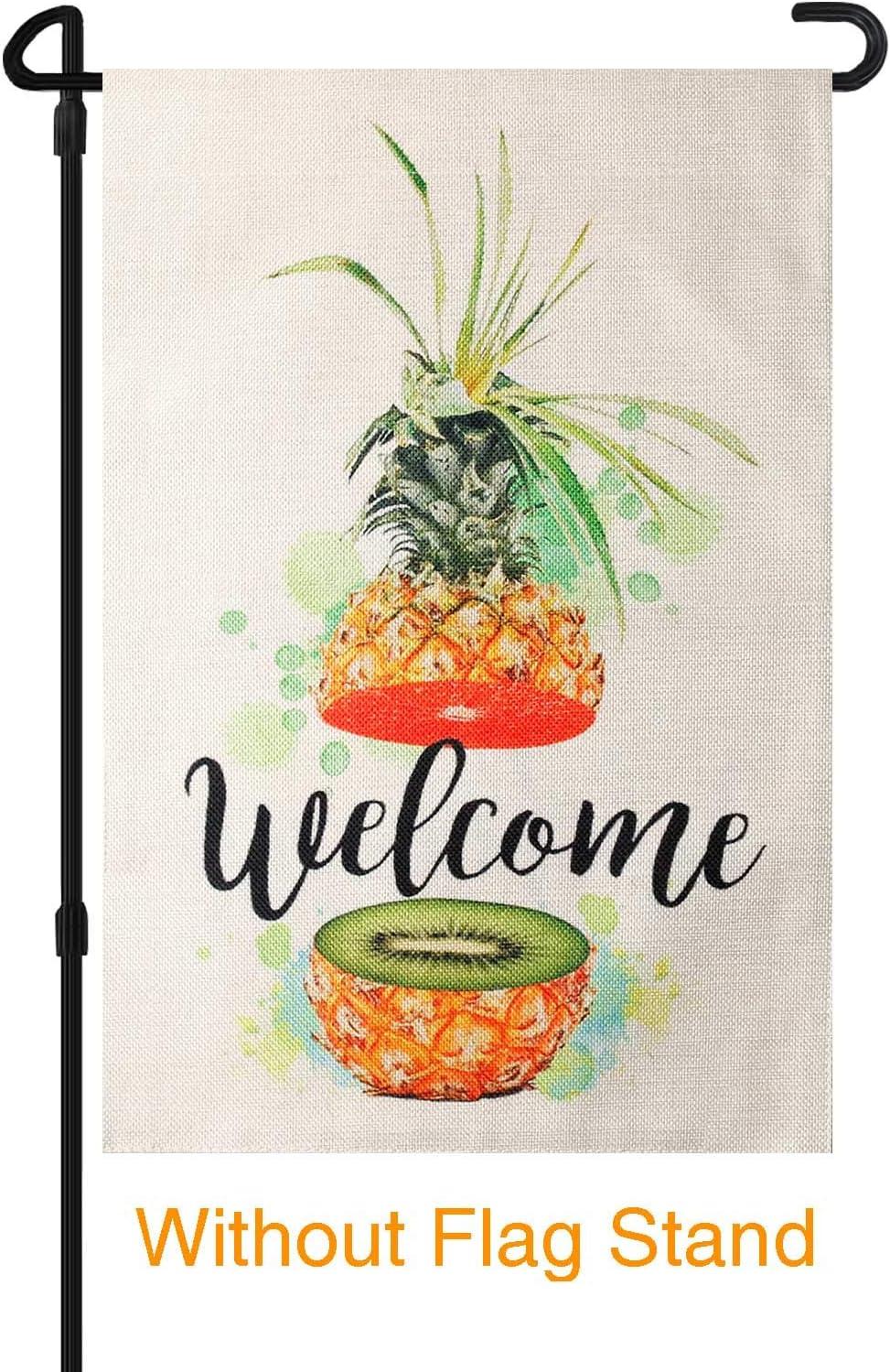 HOOSUN Welcome Garden Flag,Pineapple Garden Flag,Kiwi Fruit and Orange Grapefruit Garden Flag,Summer Fruits Creativity Flag, Double Sided Burlap Yard Outdoor Indoor Decoration Flag 12.5×18 Inch