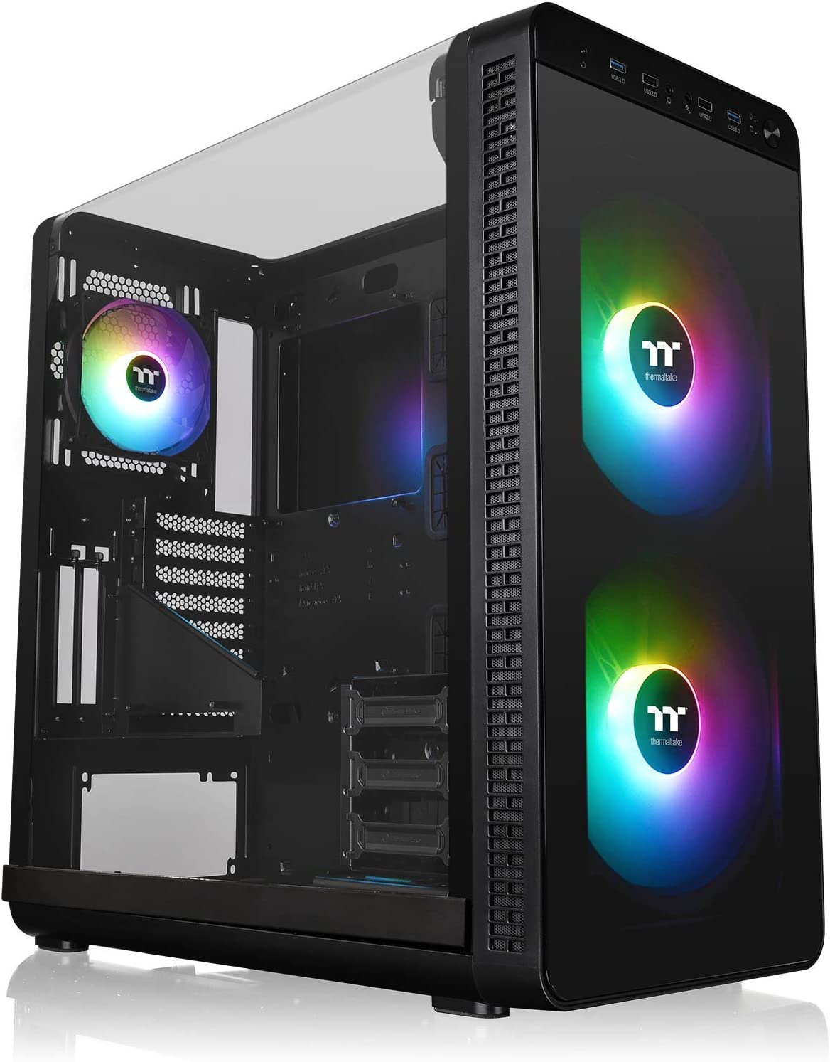 Thermaltake View 37 Motherboard Sync ARGB E-ATX Mid Tower Gaming Computer Case with 3 ARGB 5V Motherboard Sync RGB Fans Pre-Installed CA-1J7-00M1WN-04, Black