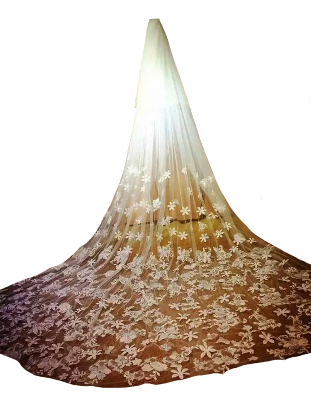 AliceHouse Women's 5m Long Luxury Flower Lace Cathedral Wedding Veils MV26 Ivory