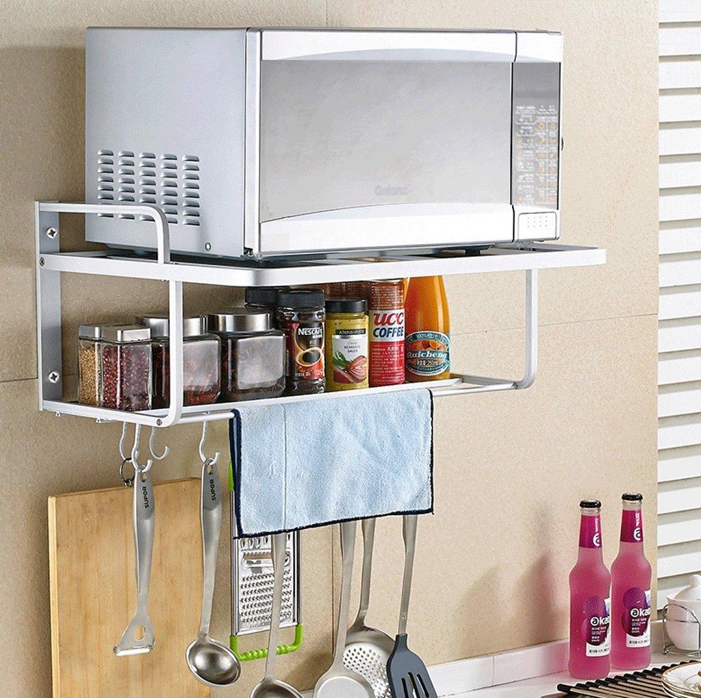 DGF Space Aluminum Microwave Rack, Kitchen Wall Shelf/ With Ten Hooks/ L55cm W38cm H24cm (silver)