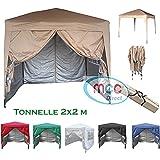 mcc direct Gazébo/Pavillon/Tente/Tonnelle/Auvent Pliable et résistant à l'Eau, 2x2m, avec Couche protectrice argentée (Beige)