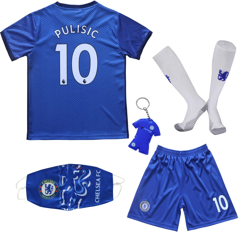 BIRDBOX Youth Sportswear Chelsea Christian Pulisic 10 Kids Home Soccer Jersey/Shorts Bag Keychain Football Socks Set