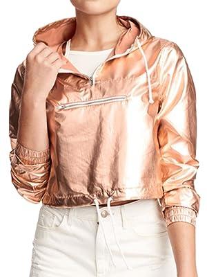 Choies Women Golden Zip Front Pullover Sweatshirt Metallic Cropped Sports Hoodie