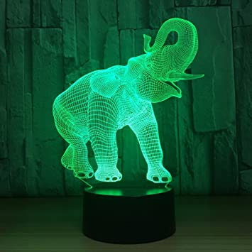 3D LED Illusion Novelty Lights Elephant Pattern Table Lamp 7 Colors USB lamp