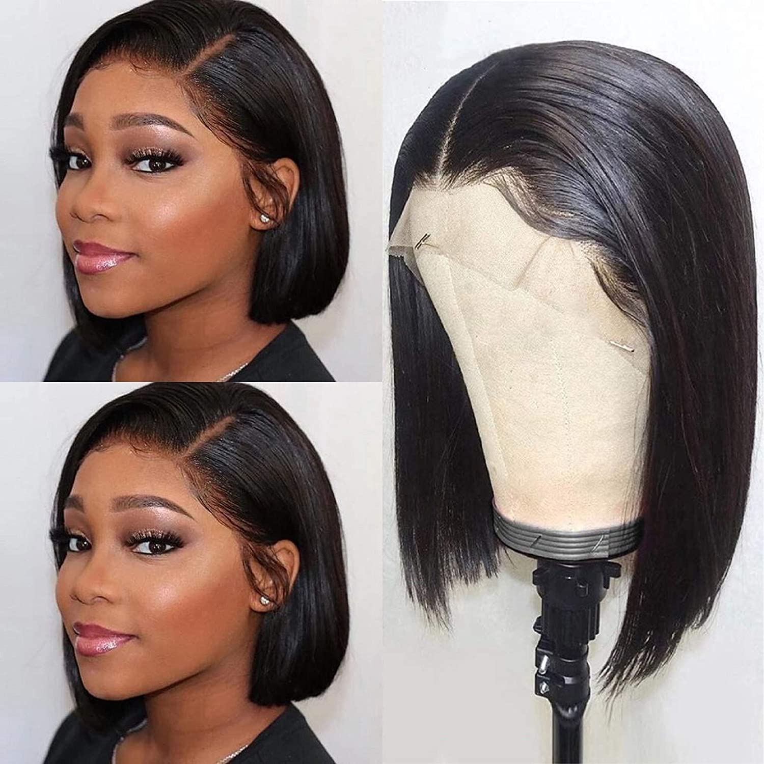 Amazon Com Human Hair Bob Wigs Lace Front 13x4 Short Bob Wig 9a Brazilian Remy Hair Lace Frontal Wigs Straight Human Hair Bob Wigs 130 Density 8 Inch Natural Color Beauty