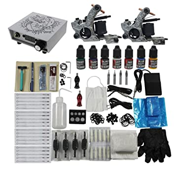 Amazon.com: Tattoo Complete Kits Set 2pcs Tattoo Machines Guns 7 ...
