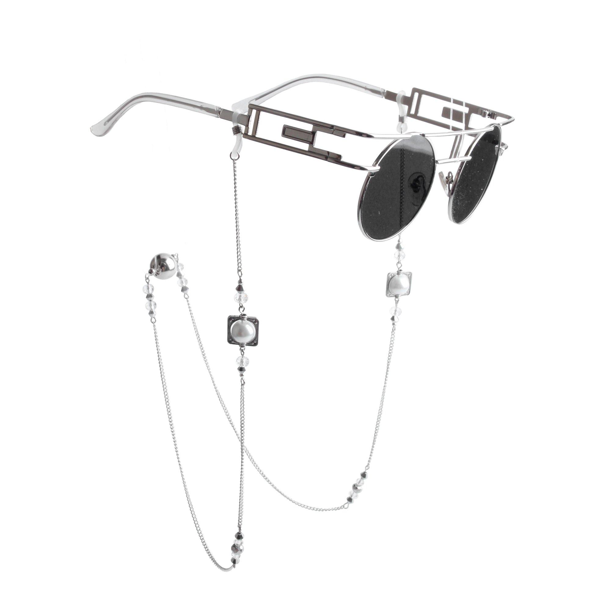 Kalevel® Eyeglass Chain Holders Strap Beaded Glasses Sunglasses Chain Eyeglass Chains and Cords For Women (White)