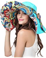 Women's Anti-UV Sun Protective Wide Brim Reversible Floppy Sun Hat Beach UPF 50+