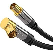 KabelDirekt PRO Series - Cable de Antena TV (75 Ohm, HDTV, toma coaxial acodada 90° W a conector coaxial recto M, cable coaxial, soporta HDTV, DVB-T2, DVB-C, DVB-S, para TV y Radio)