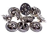 ピンバッジの留め具バタフライ型クラッチ銀色10個セット