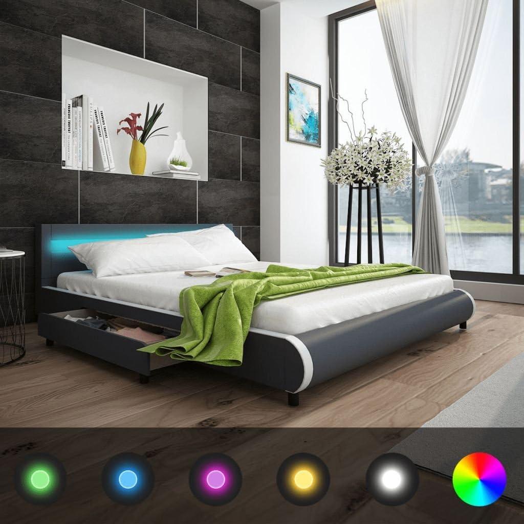 vidaXL Cama con 2 cajones y cabecera de Luces LED 180 cm Cuero Artificial Color Gris: Amazon.es: Hogar
