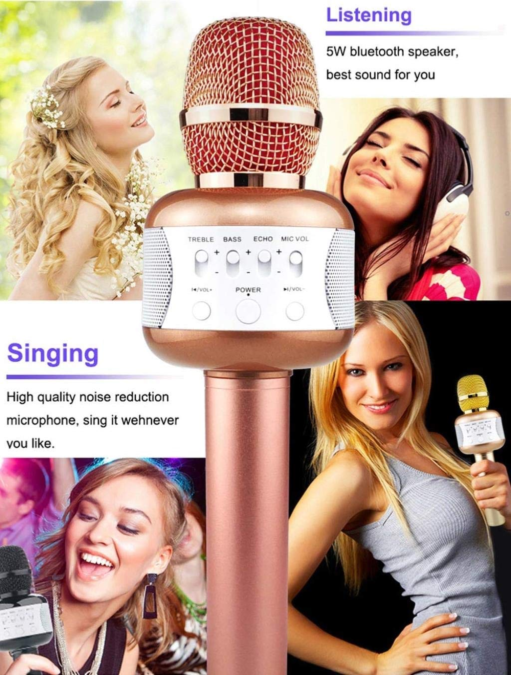 Rsiosle Wireless Bluetooth Karaoke Microphone with Mini USB Disco Lights Portable KTV Music Player Singing Mic Compatible with Android and iOS ( Color : Gold ) by Rsiosle (Image #4)