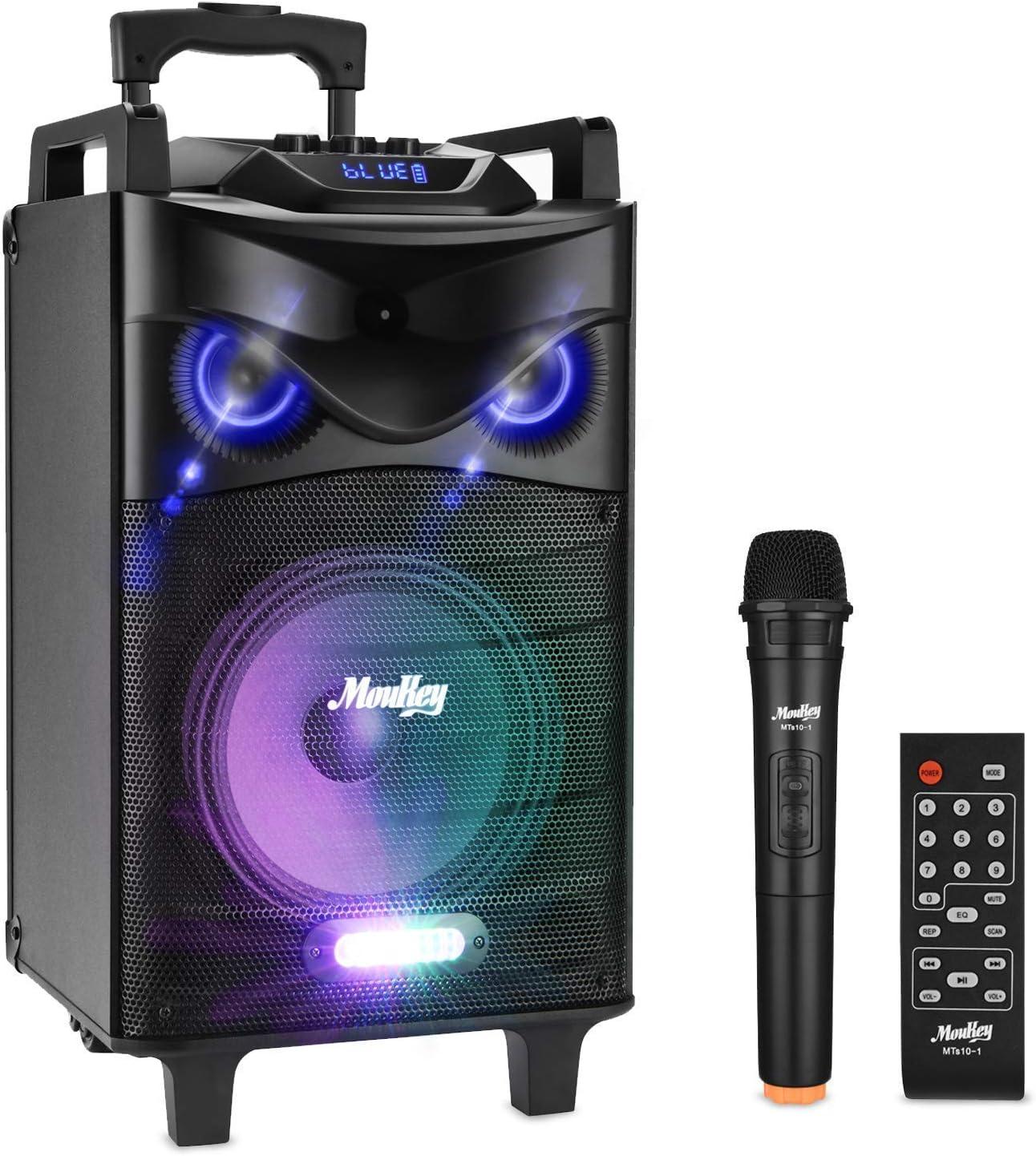 PA Stereo with 10 Subwoofer Moukey Karaoke Machine,140 Watt Bluetooth Karaoke Speaker MP3//USB//TF//AUX Wireless Microphone Headset VHF Microphone DJ Lights Recording Rechargeable Battery