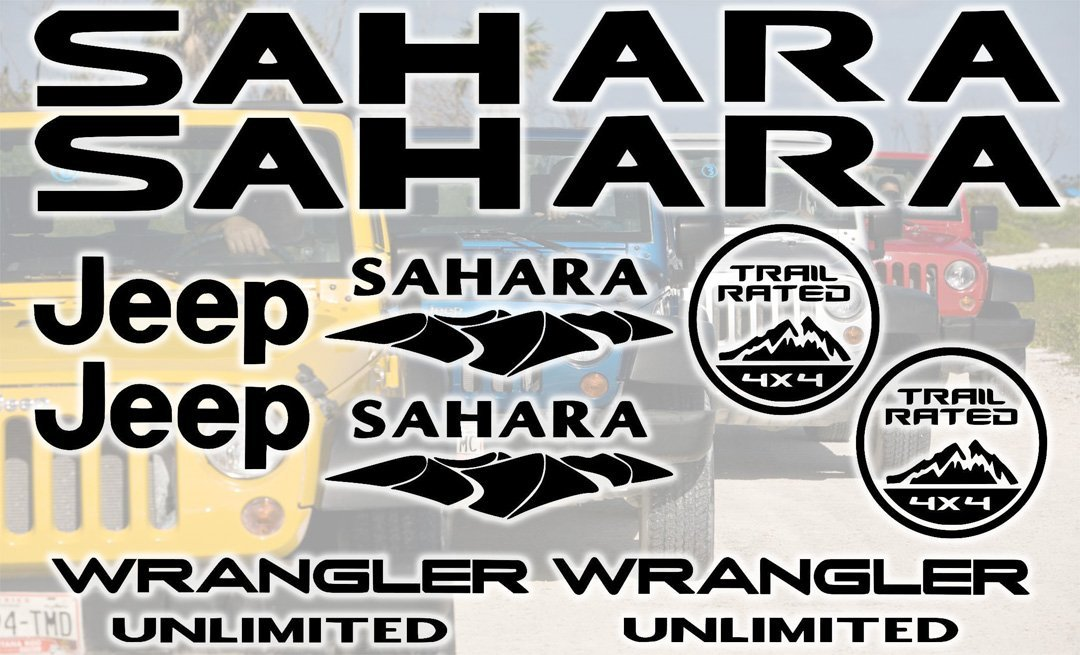 Jeep Sahara Unlimited Decal Sticker Set kit of 10 Replacement decals