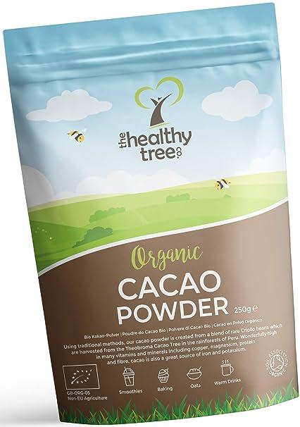 TheHealthyTree Company Cacao Crudo Orgánico en Polvo - Proteínas, Magnesio, Fibra y Potasio - Excelente en yogurt, batidos y para hornear - Cacao en ...