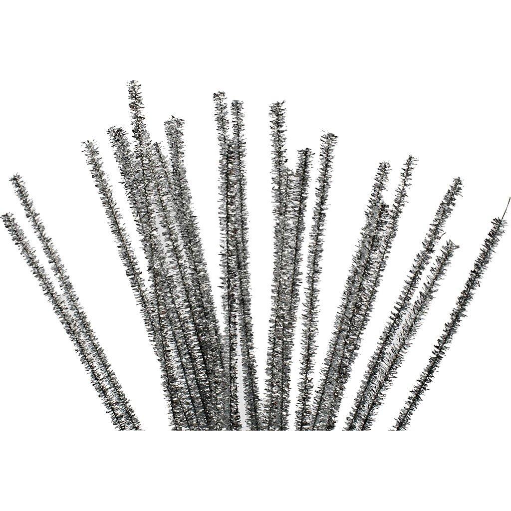 Chenilledraht, Dicke 6 mm, L: 30 cm, silber, 24Stck. Creativ Company
